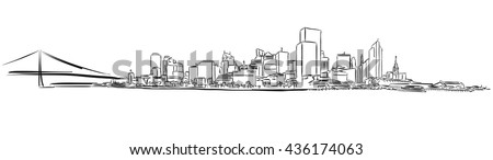 San Francisco Downtown Outline Sketch, Hand-drawn Vector Artwork - stock vector