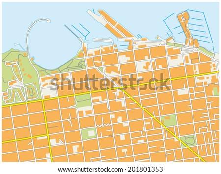 san francisco fisherman`s wharf map - stock vector
