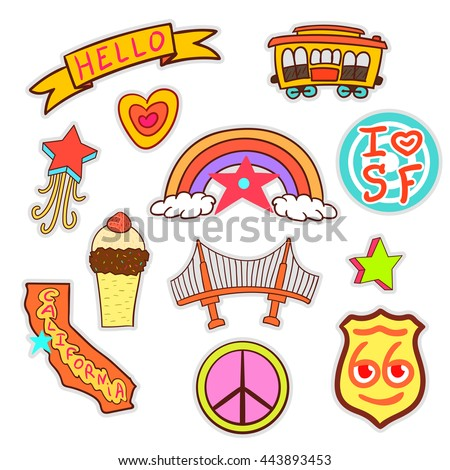 San Francisco set of quirky cartoon patch badges. stock vector. - stock vector