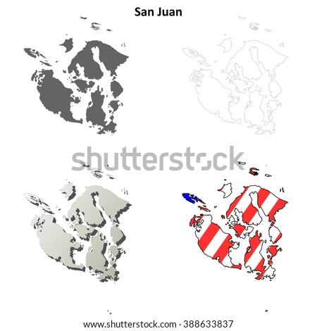 San Juan County, Washington blank outline map set - stock vector