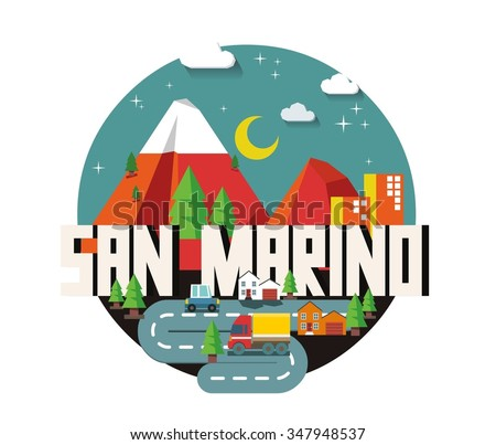 San Marino in europe is a beautiful country to visit. vintage vector illustration. - stock vector