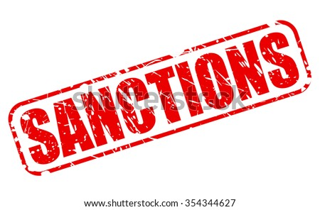 SANCTIONS red stamp text on white - stock vector