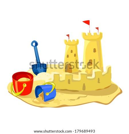 sand castle, beach toys isolated. vector illustration - stock vector