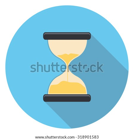 sand clock flat icon in circle - stock vector