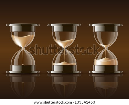 Sand falling in the hourglass in three different states on dark background. Vector illustration - stock vector
