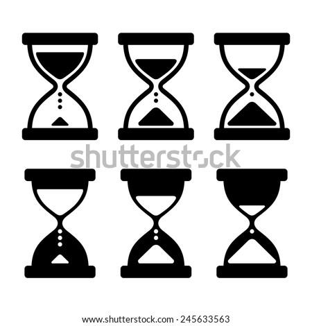 Sand Glass Clock Icons Set. Vector illustration - stock vector