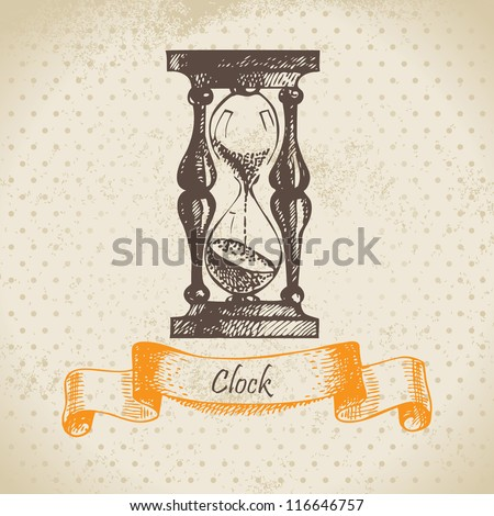 Sand glass, hand drawn  illustration - stock vector