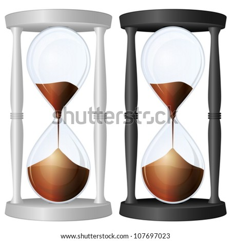 Sand glass on a white background. Vector illustration. - stock vector