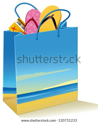 Sandals and flight ticket into a paper bag with a picture of a beach. Useful image to promote holiday packages - stock vector