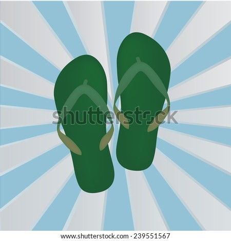 Sandals on Blue Background - stock vector