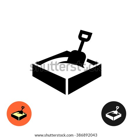 Sandbox icon. Black sign with color and inverted versions. - stock vector