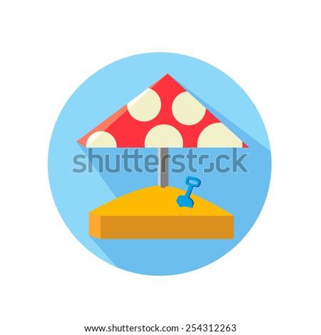 Sandbox, vector illustration Red umbrella with white circles - stock vector