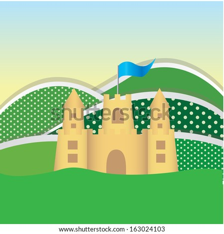 sandcastle design over landscape background vector illustration - stock vector