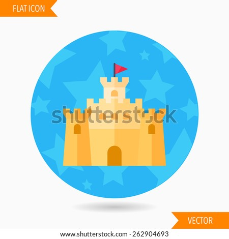 sandcastle flat icon with long shadow on blue circle background    Sandcastle Icon
