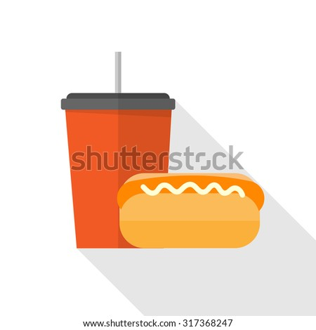 Sandwich and soft drinks - stock vector