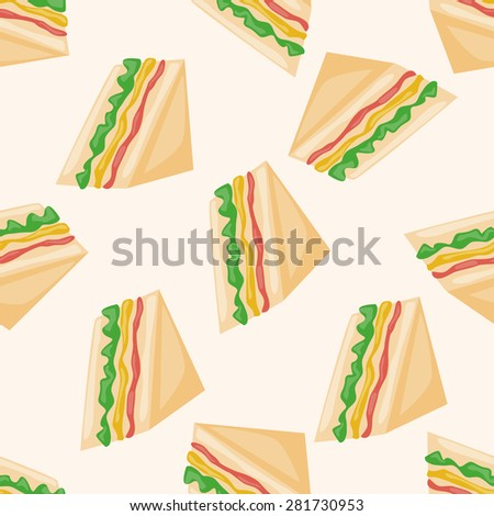 sandwich , cartoon seamless pattern background - stock vector