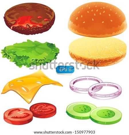 Sandwich elements. Fastfood Vector hamburger illustration - stock vector