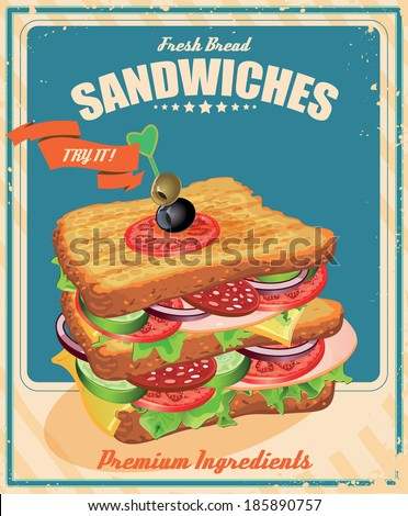 Sandwich Poster in vintage style. Vector illustration. - stock vector