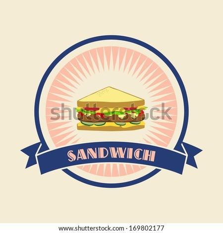 sandwich retro label - stock vector