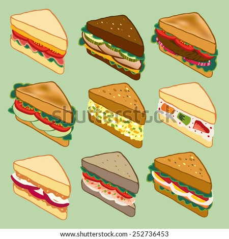 Sandwich variety parade vector illustration for restaurant, fast food, and more - stock vector