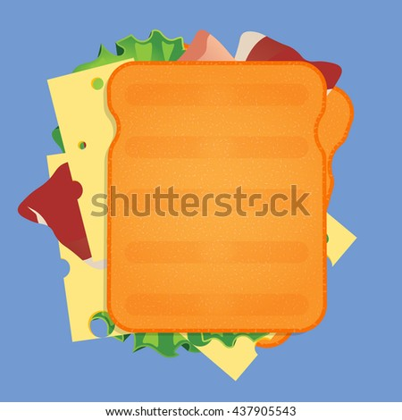 sandwich vector illustration on blue background - stock vector