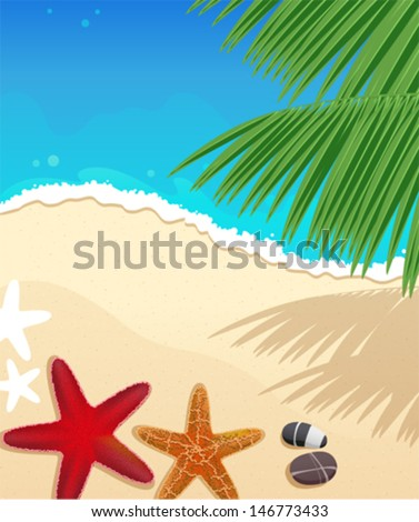 Sandy coast and foaming waves with starfishes, stones and palm branches - stock vector