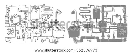 Sanitary engineering. Two versions. - stock vector