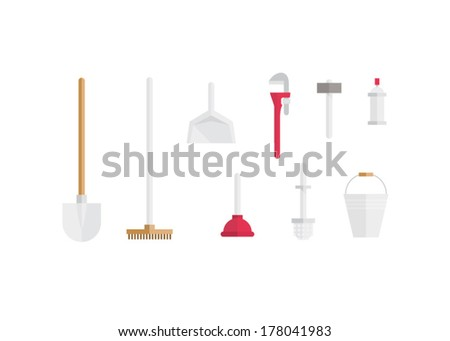 Sanitary tools set - stock vector