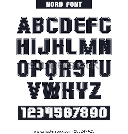 Sanserif font and numeral with the contours. Black font on white background - stock vector