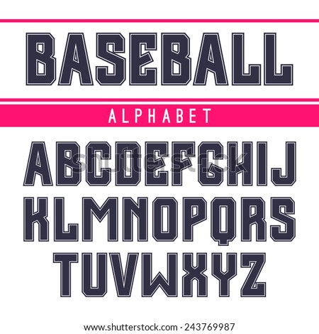 Sanserif font in the sport style with contour. Dark print on a white background - stock vector