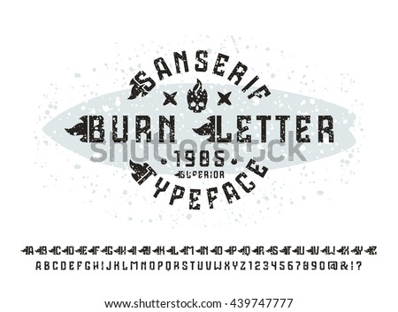 Sanserif font with flame initial letter and spray texture. Typeface design for t-shirt. Black font on light background - stock vector