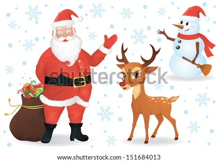 Santa, a deer and a snowman isolated on white. - stock vector