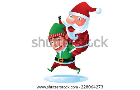Santa and Elf in Christmas  - stock vector