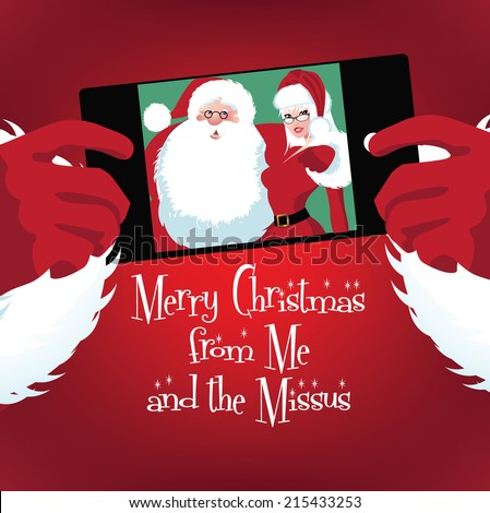 Santa and Mrs. Claus selfie EPS 10 vector - stock vector