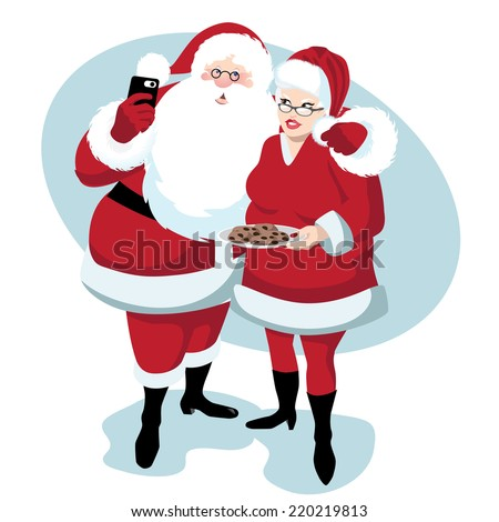 Santa and Mrs. Claus take a selfie EPS 10 vector - stock vector
