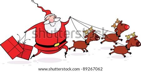 Santa and Reindeers - stock vector