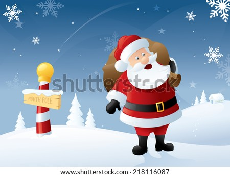 Santa at the North Pole with a sack full of gifts. - stock vector