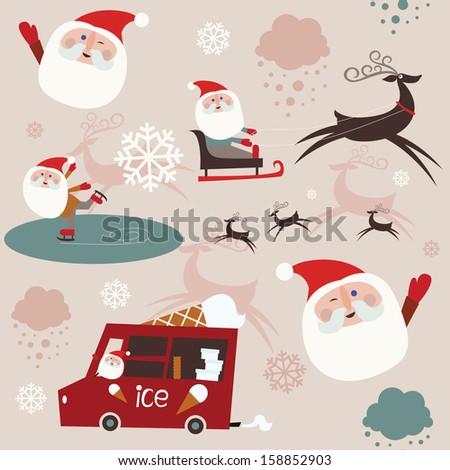 Santa  at work seamless pattern - stock vector
