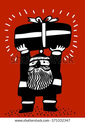 Santa carrying a  gift box over his head - stock vector