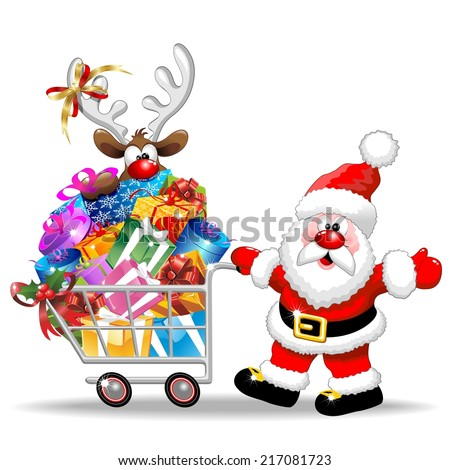 Santa Cartoon with Reindeer on Christmas Shopping Cart - stock vector