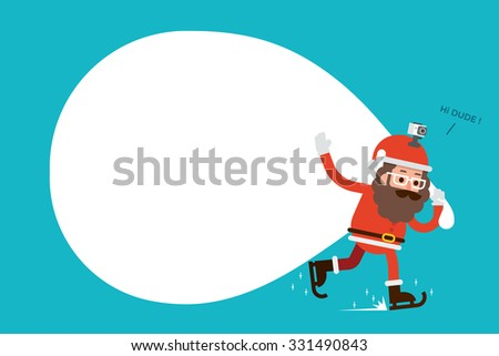 Santa Claus and blank bag. - stock vector