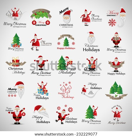 Santa Claus And Christmas Elements Set - Isolated On Gray Background - Vector Illustration, Graphic Design Editable For Your Design, Christmas Concept - stock vector