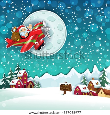 Santa Claus and gifts on an airplane in country snowy-Transparency blending effects and gradient mesh-EPS 10 - stock vector