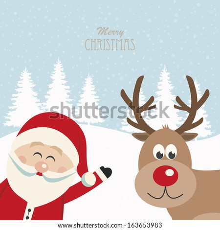 santa claus and reindeer snowy background - stock vector