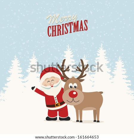 santa claus and reindeer snowy winter background - stock vector