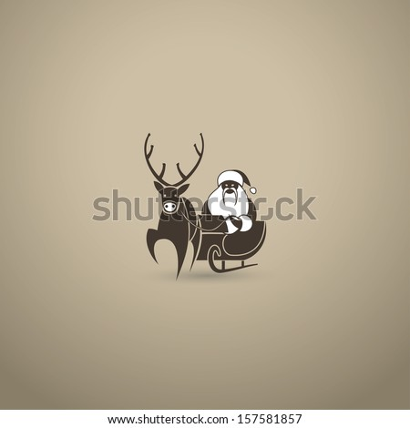 Santa Claus and reindeer - vector illustration - stock vector