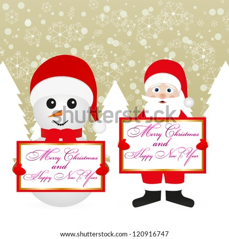 Santa Claus and snowman in a fairy forest with banners - stock vector