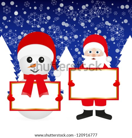 Santa Claus and snowman in the woods with banners - stock vector