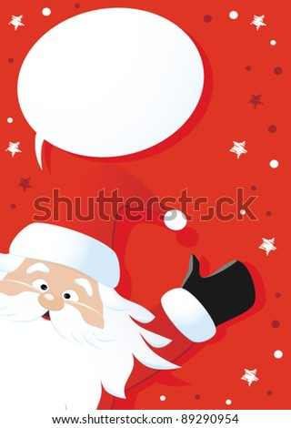 Santa Claus and speech bubble on a red background, vector - stock vector