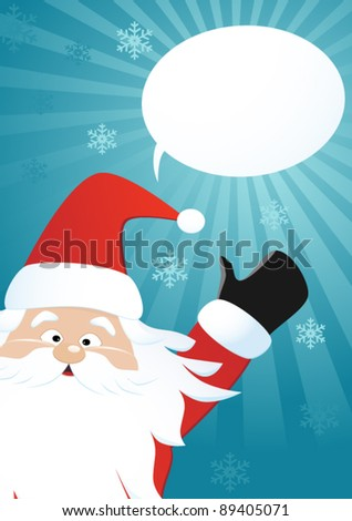 Santa claus and speech bubble on blue backgroud, vector - stock vector